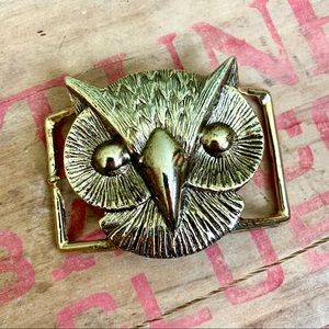 Owl Head Brass Belt Buckle